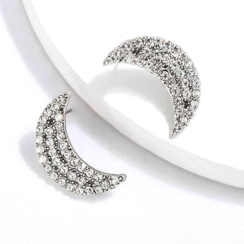Simple Alloy Rhinestone Moon Earrings NHJE205091