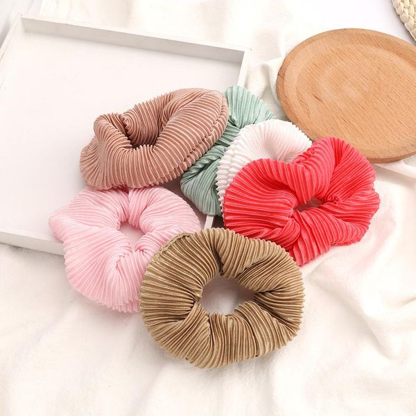 New fashion vertical stripe pleated fabric Korean cheap hair ring women wholesale NHJE205099