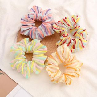 New fashion colorful pinstripe fresh and energetic Korean cheap hair ring wholesale NHJE205100