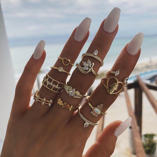 New Fashion Flower Leaf Love Palm Fatima Hand Diamond Hollow 12 Piece Ring Set NHPV205114