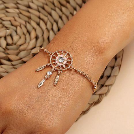 Bohemian oil tassel rhinestone dreamcatcher leaf bracelet for women NHPV205118's discount tags