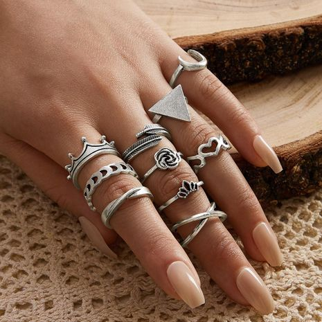 Crown Geometric Triangle Love Moon Cross Ring Leaf Flower V-shaped Totem Ten-piece Ring Set NHPV205119's discount tags