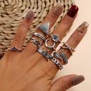 Crown Geometric Triangle Love Moon Cross Ring Leaf Flower Vshaped Totem Tenpiece Ring Set NHPV205119