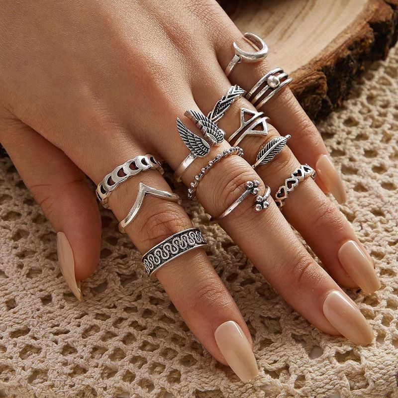 Vintage wings triangle moon geometric love ring leaf V-shaped totem 11-piece ring set NHPV205120