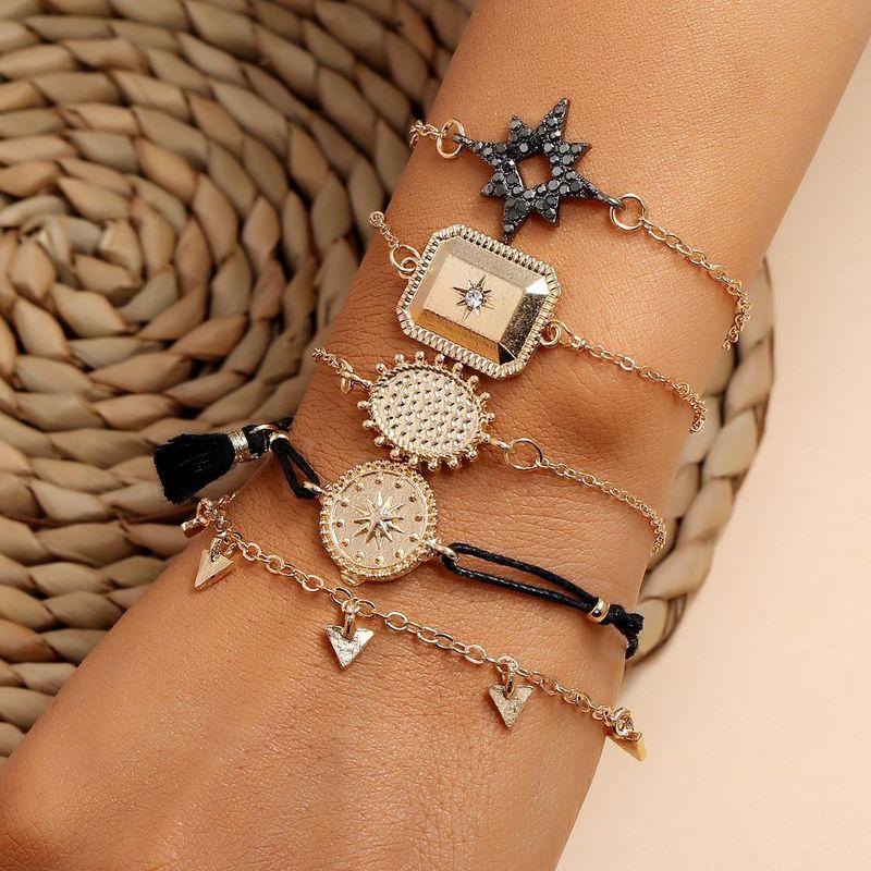 Black fringed diamond five-pointed star five-piece geometric square triangle set bracelet NHPV205123