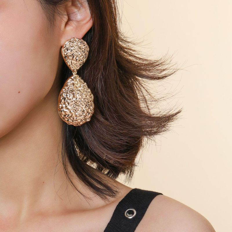 Grainy pattern nightclub earrings water drops geometric punk fashion earrings NHPV205124