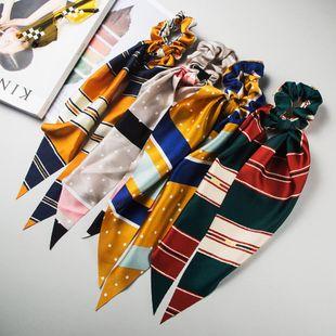 New fashion bow satin stripe long streamer Korean ponytail headband cheap hair ring wholesale NHLN205133's discount tags