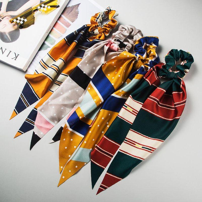 New fashion bow satin stripe long streamer Korean ponytail headband cheap hair ring wholesale NHLN205133