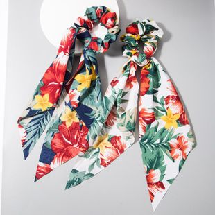 Bohemian hair rope fashion flower print fabric hair ring color long ribbon bow wholesale NHLN205136's discount tags