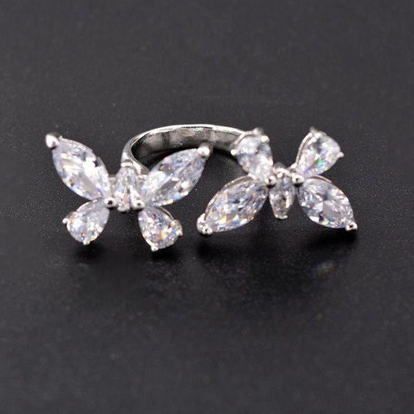 Korean new fashion butterfly zircon open ring wholesale NHNT205138