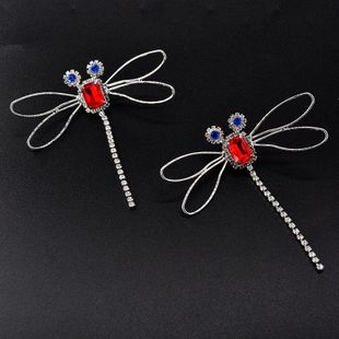 925 Silver Needle Korean Dragonfly Rhinestone Earrings Tassel Rhinestone Earrings Wholesale NHNT205140's discount tags