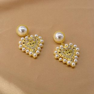 Baroque New Love Pearl Earrings Exaggerated Diamond Heart Earrings NHNT205145's discount tags
