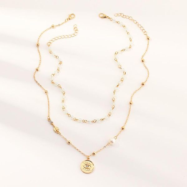 Jewelry Fashion Multi-layer Eye Pendant Necklace Vintage Water Crystal Bead Chain NHNZ205152