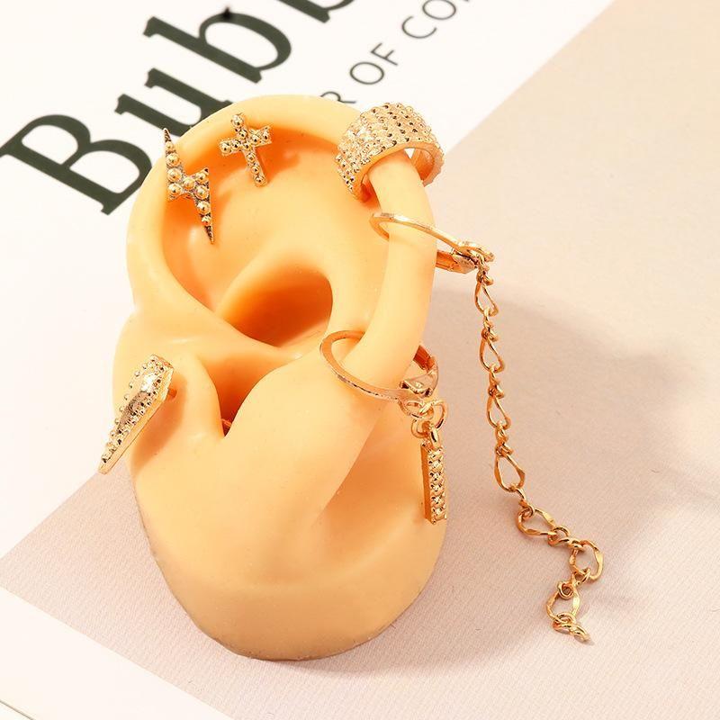 Jewelry Retro Fashion Lightning Cross Ear Stud Long Tassel Hoop Earrings NHNZ205156