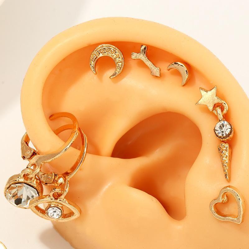 Jewelry Wholesale Fashion Eye Pentagram Earrings Love Ear Studs Set NHNZ205158