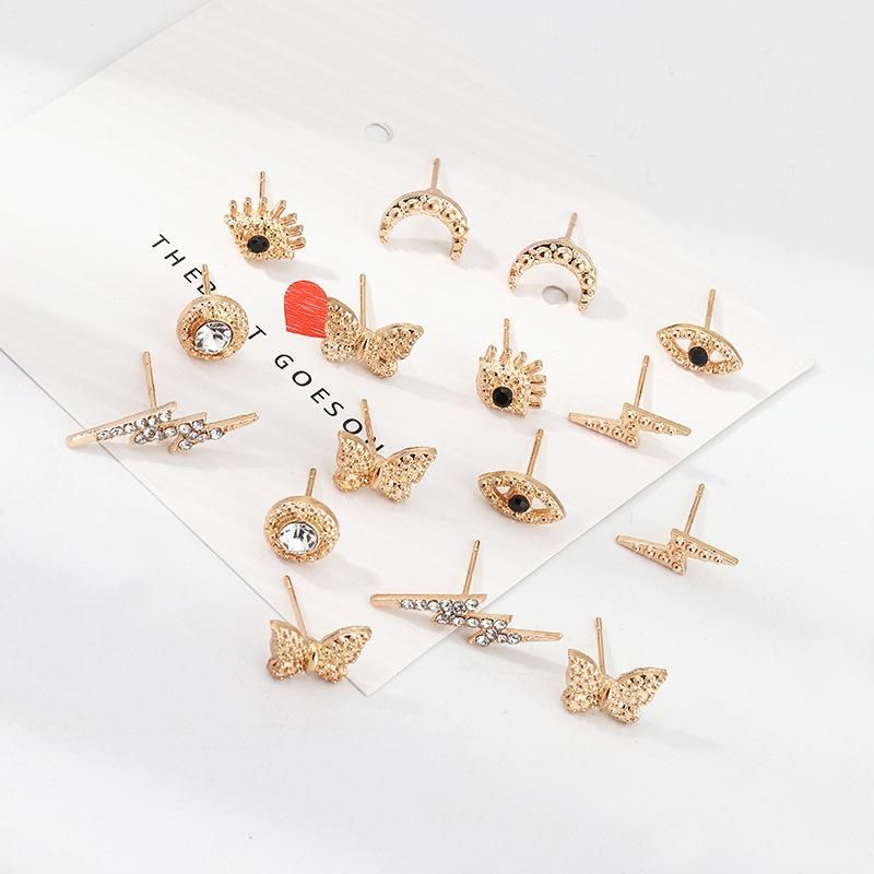 Jewelry Fashion Multi-Element Ear Stud Combination Butterfly Lightning Eye Moon Earrings NHNZ205160