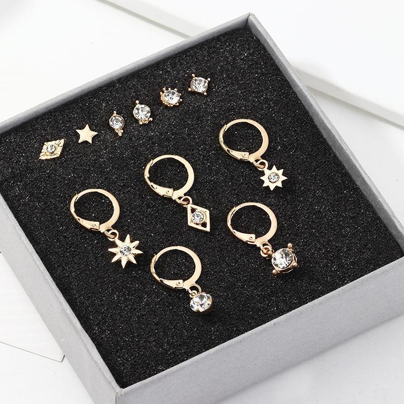Jewelry Fashion Multi-Element Stud Earrings Set with Zircon Sun Star Mans Earrings NHNZ205161