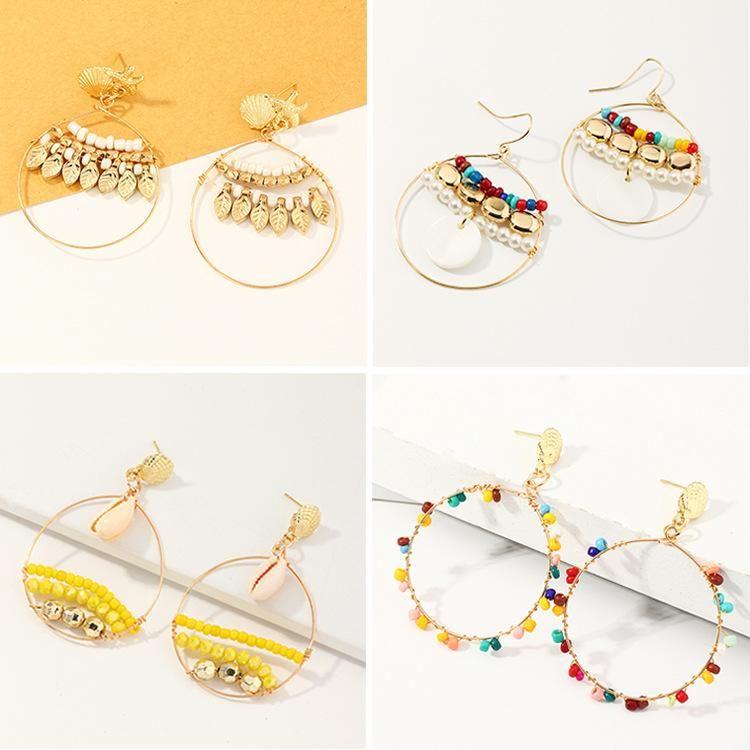 Jewelry Shell Starfish Earrings Ring Beads Pearl Earrings NHNZ205165