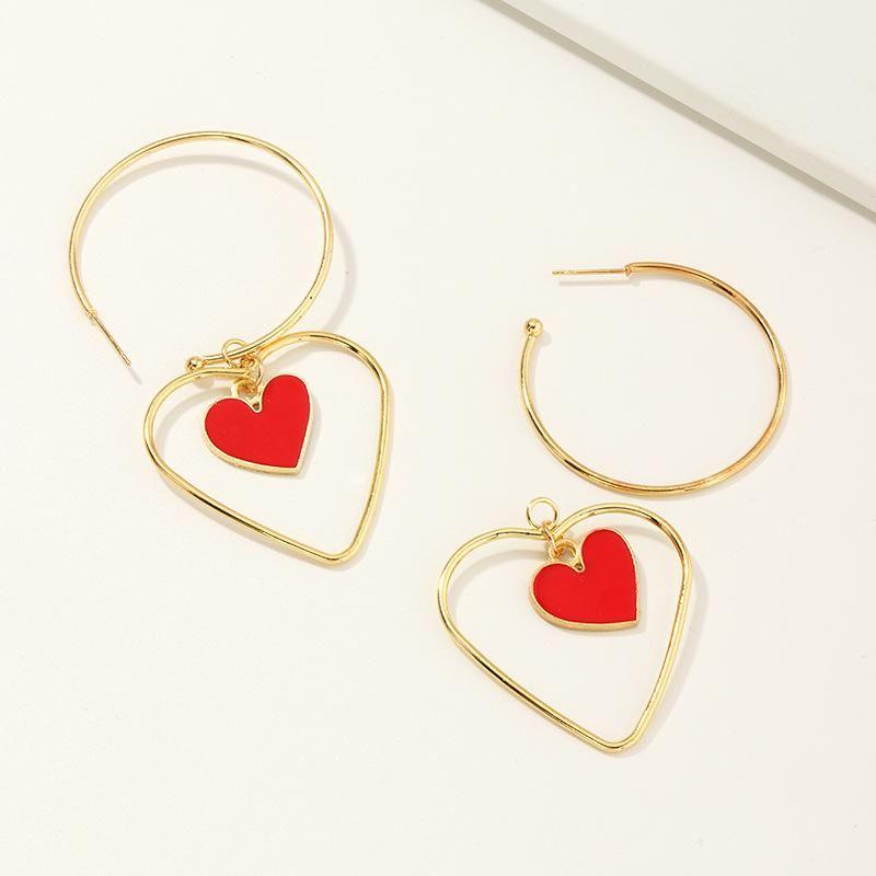 Jewelry Retro Fashion Double Love Earrings Ring Peach Heart Earrings NHNZ205166