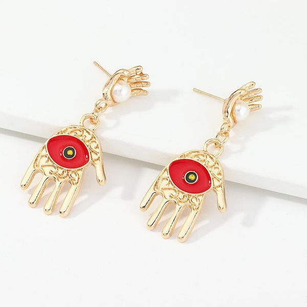 Jewelry Wholesale Devil's Eye Earrings Alloy Palm Pearl Stud Earrings NHNZ205171