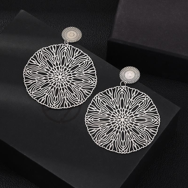 Jewelry Wholesale Vintage Copper Sheet Hollow Geometric Pattern Earrings NHNZ205173