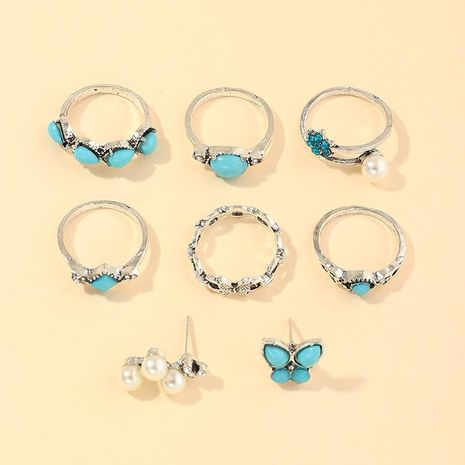 Vintage Fashion Geometric Blue Turquoise Ring Butterfly Pearl Ring 8 Piece Set NHNZ205177's discount tags