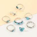 Mode vintage gomtrique bleu turquoise bague papillon perle bague 8 pices ensemble NHNZ205177