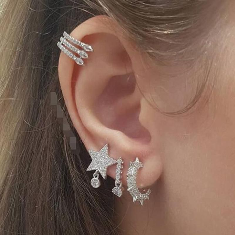 Jewelry Wholesale Fashion Full Diamond Ear Hanging Eyes Star Earrings Ear Studs Set NHNZ205179