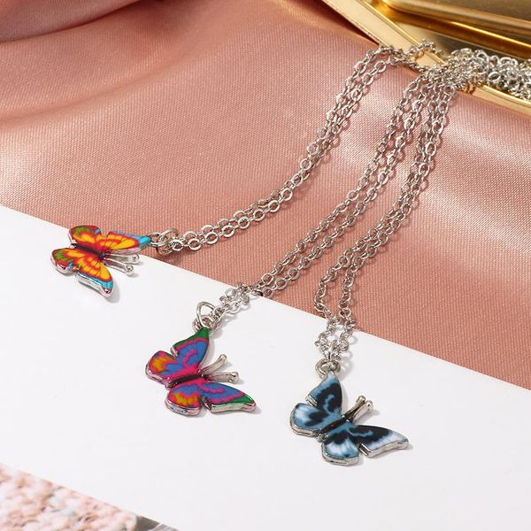 Jewelry wholesale fashion colorful butterfly necklace vintage butterfly necklace NHNZ205185