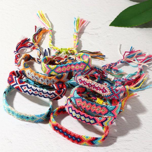 Nueva moda bohemia Vintage pulsera tejida Nepal Rainbow Lucky Friendship pulsera NHNZ205186