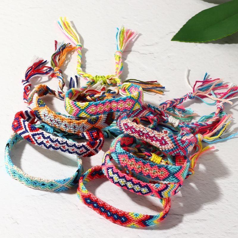 New Fashion Bohemian Vintage Woven Bracelet Nepal Rainbow Lucky Friendship Bracelet NHNZ205186