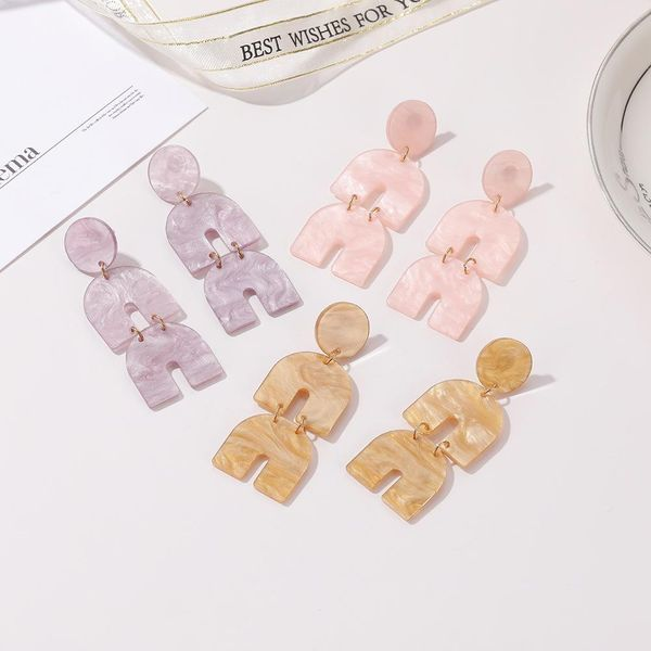 New acrylic U-shaped multi-layer double-layer superimposed horseshoe-shaped fashion exaggerated long earrings NHJJ205192