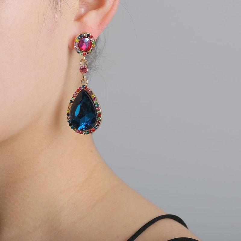 New fashion crystal glass diamond long drop earrings for women NHJJ205194