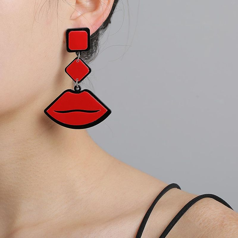 New Fashion Exaggerated Red Lip Earrings Wholesale NHJJ205199