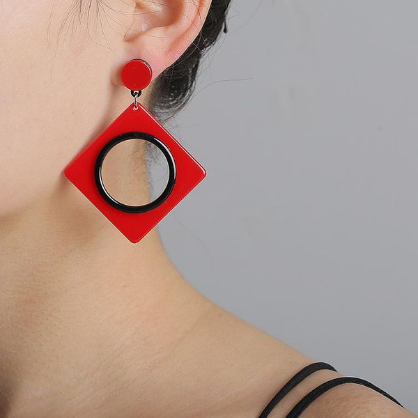New black and white red acrylic geometric square hollow round multilayer earrings for women NHJJ205198