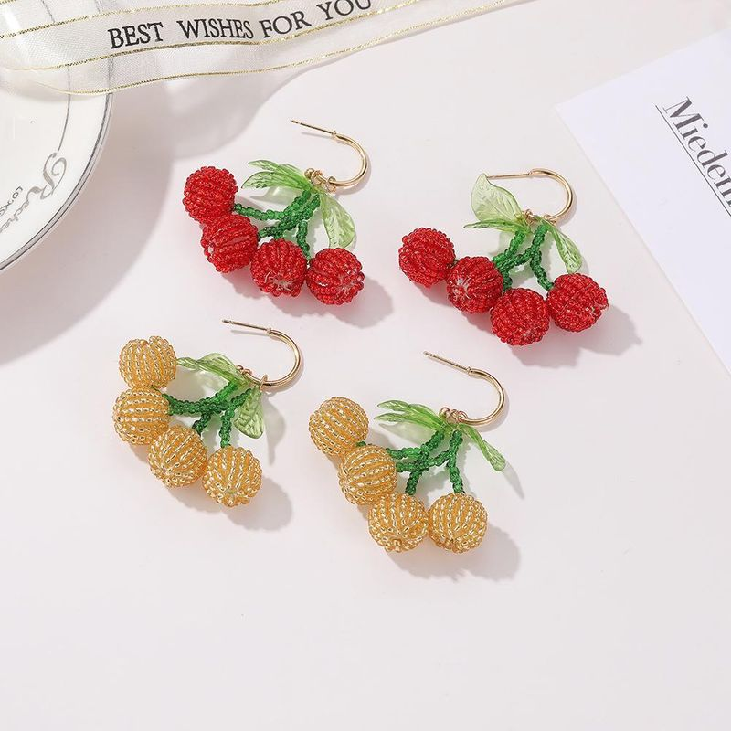 New woven crystal beaded cherry earrings fruit cute earrings wholesale NHJJ205200