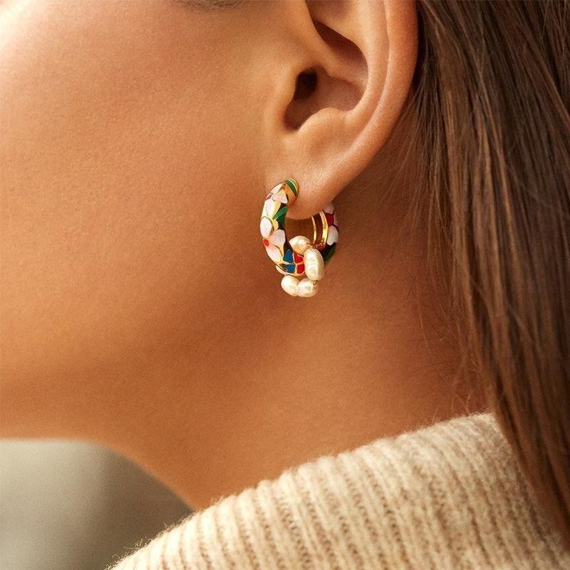 New alloy printed handmade beaded earrings female multi-element exquisite earrings NHJQ205206