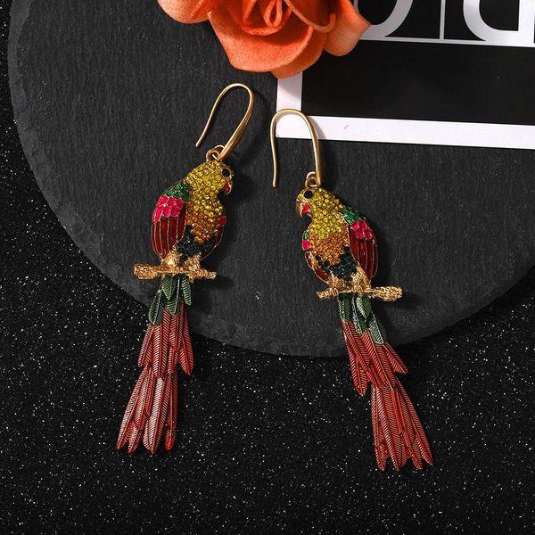 Fashion colorful resin diamond parrot earrings hot selling delicate long irregular earrings NHJQ205207