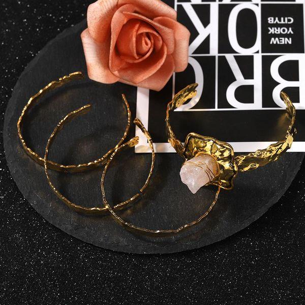 Korean new alloy flower shaped gemstone open bracelet wholesale NHJQ205209
