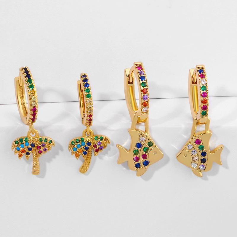 Exaggerated earrings with diamonds marine fish coco earrings earrings women NHAS205215
