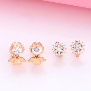 Jewelry Zircon Ear Studs Rose Gold Doll Angel Earrings NHAS205217's discount tags