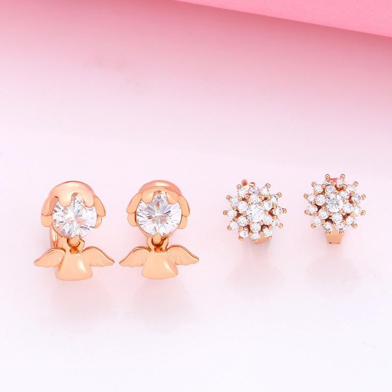 Jewelry Zircon Ear Studs Rose Gold Doll Angel Earrings NHAS205217
