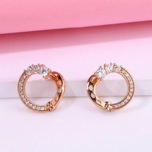 Creative new earrings for women simple geometric round diamond earrings wholesale NHAS205218's discount tags