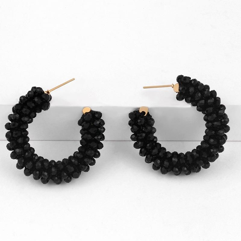 Exaggerated geometric bead earrings female earrings boho C-shaped bead earrings NHAS205221