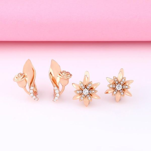 Accessories earrings rose earrings diamond zircon stud earrings NHAS205223
