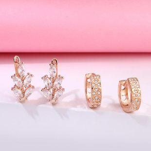 Fashion earrings AAA grade micro inlaid zircon geometric love sparkling earrings couple jewelry NHAS205225's discount tags