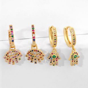 Alloy Full Diamond Earrings with Palm Color Eye Earrings NHAS205227's discount tags