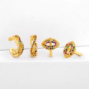 Earrings Micro Inlaid Color Zircon Mouth Ear Clip No Pierced Ear Bone Clip Wholesale NHAS205229's discount tags