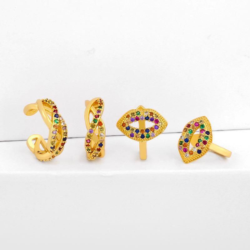 Earrings Micro Inlaid Color Zircon Mouth Ear Clip No Pierced Ear Bone Clip Wholesale NHAS205229