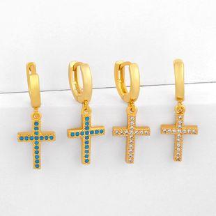 Classic Retro Cross Earrings Hip Hop Full Diamond Zircon Cross Earrings NHAS205233's discount tags